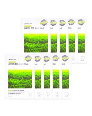 3W Clinic - Green Tea Essential Up Sheet Mask - 1pack (10pcs)