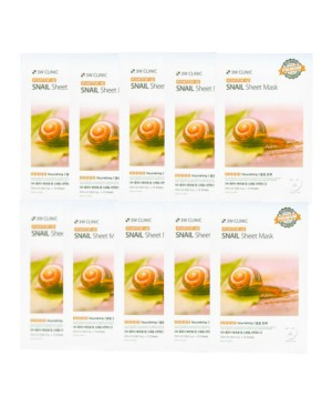 3W Clinic - Snail Essential Up Sheet Mask - 10pcs
