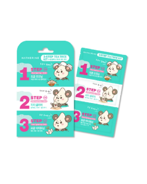 Hatherine - Tea Tree Kit de pack de nez en 3 étapes - 6sheets