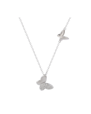 MsBlossom - Silver Butterfly Pendant Necklace - 1pc
