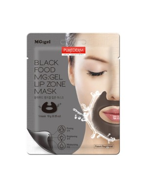 PUREDERM - Black Food MG: gel Lip Zone Mask - 1pc