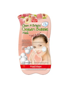 PUREDERM - Clean&Bright Oxygen Bubble Mask - 3.5ml+3.5ml - Peach