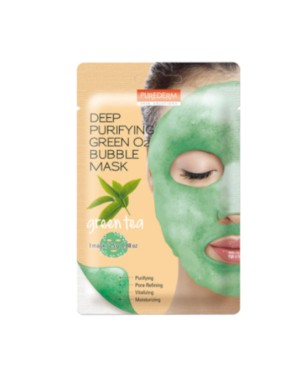 PUREDERM - Deep Purifying Black O2 Bubble Mask - Green Tea - 1 pc