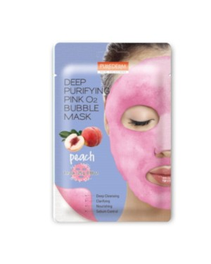 PUREDERM - Deep Purifying Black O2 Bubble Mask - Peach - 1 pc