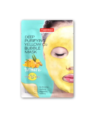 PUREDERM - Deep Purifying Black O2 Bubble Mask - Tumeric - 1 pc