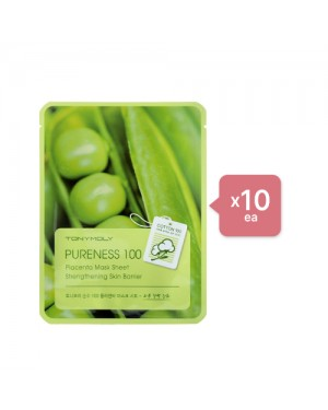 Tonymoly - Pureness 100 Mask Sheet - Placenta (10ea) Set - Dark spring green