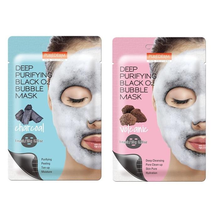 PUREDERM - Deep Purifying Black O2 Bubble Mask