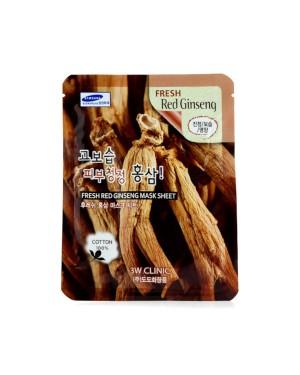3W Clinic - Feuille de masque au ginseng rouge frais - 1pc