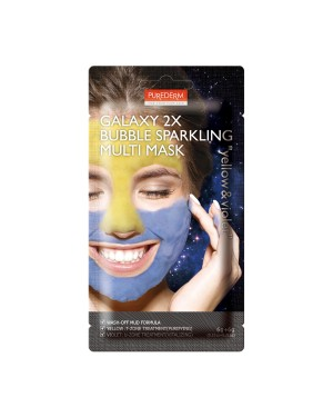 PUREDERM - Galaxy 2X Bubble Sparkling Multi Mask - 6g+6g - Yellow & Violet