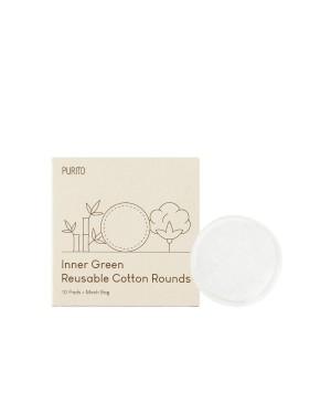 PURITO - Ronds de coton réutilisables verts intérieurs - 10 Pads