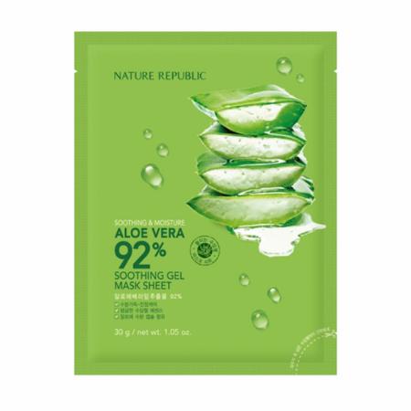 Stylevana - Vana Blog - Best Aloe Vera Face Mask Sheet - NATURE REPUBLIC - Soothing & Moisture Aloe Vera 92% Soothing Gel Mask Sheet