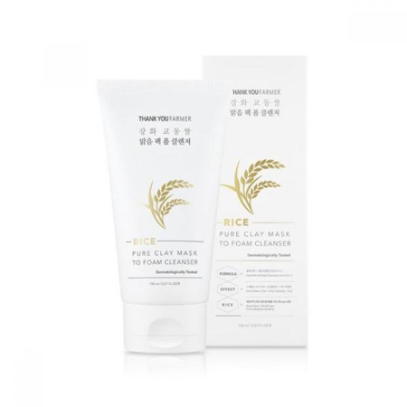 Stylevana - Vana Blog - Best Deep Cleansing Masks For Oily Skin - THANK YOU FARMER - Rice Pure Clay Mask to Foam Cleanser