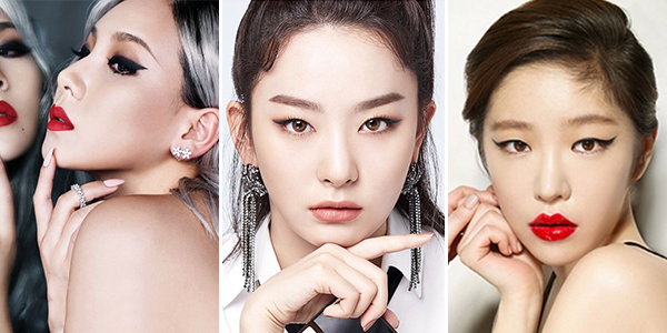 Classic smudged black wing – Pictured with CL, Red Velvet's Seulgi, Brown Eyed Girls' Ga In