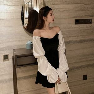 Cinderella's Closet - Tied-Sleeve Off-Shoulder Velvet A-Line Mini Skirt