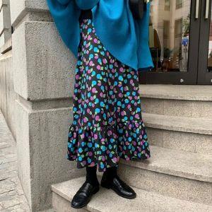MissLady - Band-Waist Pattern Ruffle-Hem Midi Skirt