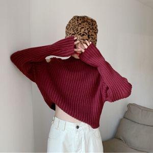 MissLady - Mock-Turtleneck Cut-Out Shoulder Ribbed Knit Top