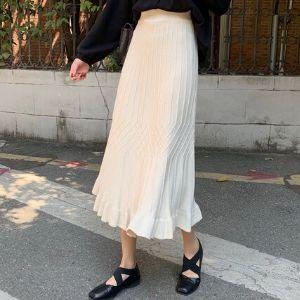 Souland - Band-Waist Striped A-Line Knit Midi Skirt
