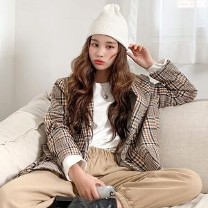 Icecream12 - Plaid Blazer Colored Leather