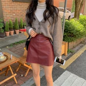 MERONGSHOP - Faux Leather Mini Skirt
