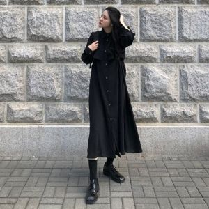 MissLady - Pleated Panel Long Shirtdress