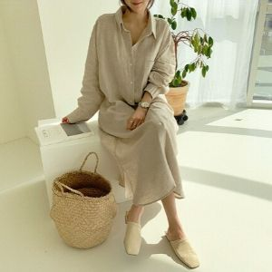 NANING9 - Long-Sleeve Pocket Shirtdress