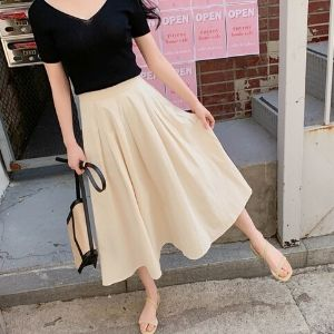 Cherryville - Band-Waist Side-Zip Plain Midi Skirt