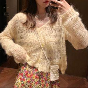Chi Chi - V-Neck Cropped Knit Cardigan