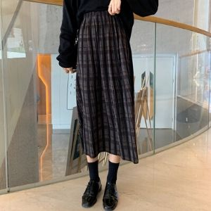 MissLady - Band-Waist Plaid Shirred Skirt