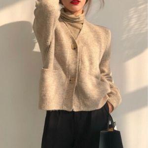 Souland - Long-Sleeve Plain Knit Cardigan