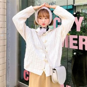 Icecream12 - Long-Sleeve Hooded Cable-Knit Cardigan