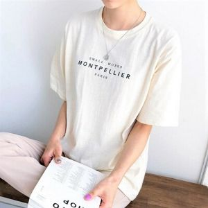 Icecream12 - Elbow-Sleeve Round-Neck Lettering Tee