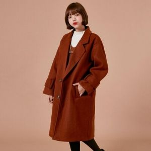 Icecream12 - Oversized Double Breasted Plain Coat