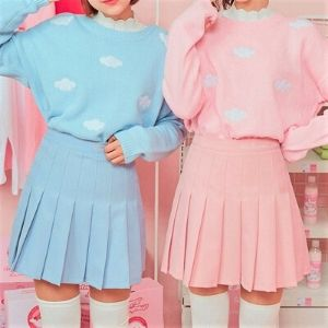 Icecream12 - Cloud Pattern Long-Sleeve Knit Top