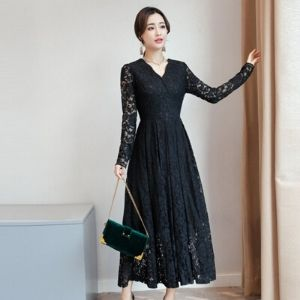 Cinderella's Closet - Elbow-Sleeve Lace A-Line Maxi Dress