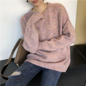MissLady - Crew-Neck Plain Sweater