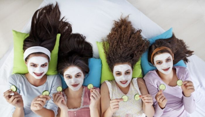 Girls night sleepover mask skincare pamper session