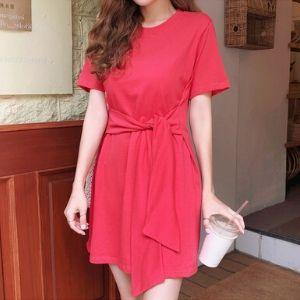 Cherryville - Short-Sleeve Tie-Waist Mini Dress