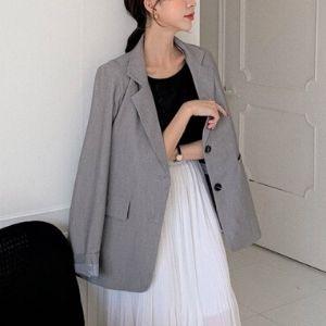 MERONGSHOP - Padded Shoulder Single-Breasted Blazer