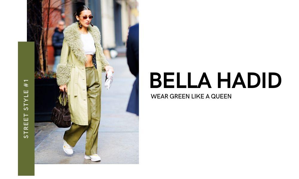 Bella Hadid New York Fashion Week 2020 Street Style Off-runway Off-duty look Green Trench Coat Green Pants