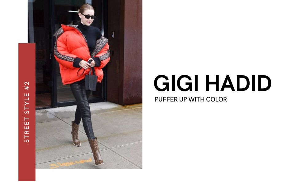 Gigi Hadid New York Fashion Week 2020 Street Style Off-runway Off-duty look Fendi Puffer Jacket Leather pants