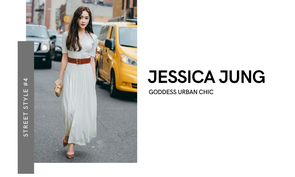 Jessica Jung SNSD Girls' Generation New York Fashion Week 2020 Street Style Off-runway Off-duty look White Flowy Maxi Dress