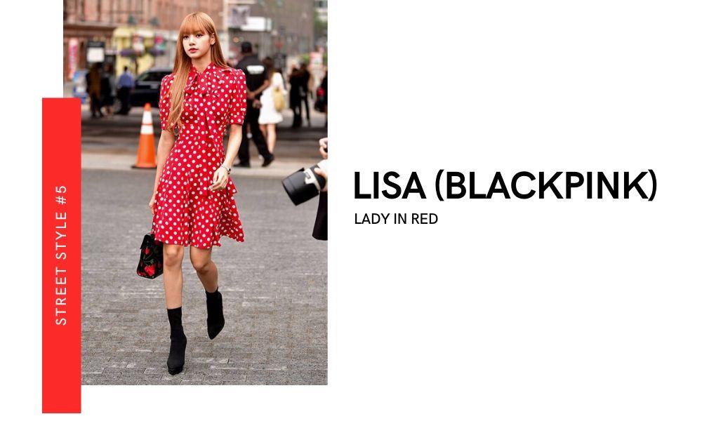Lisa Blackpink New York Fashion Week 2020 Street Style Off-runway Off-duty look Red Polka Dot Dress