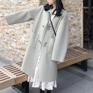 PinkGirl - Plain Long Toggle Coat