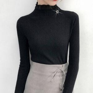 MsBlossom - Long-Sleeve Mock Turtleneck Jacquard Knit Top