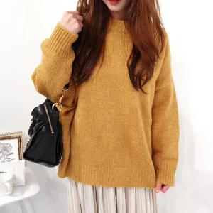 Seoulflash - Round-Neck Plain Knit-Sweater