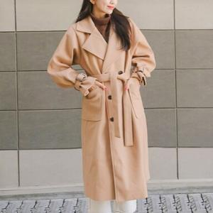 Icecream12 - Plain Single-Breasted Long Coat with Sash