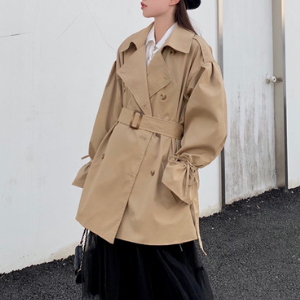 Rosy.B - Tie-Sleeve Trench Coat with Belt - Khaki