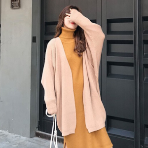 Rosy.B - Long-Sleeve Ribbed Open Cardigan