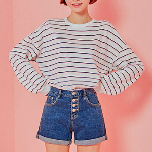 Icecream12 - Round-Neck Striped Pullover