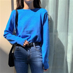 MERONGSHOP - Long-Sleeve Round-NecK Plain Knit Top